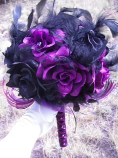 Bridal Wedding Bouquet 12 Roses Black and Purple Roses Chandelle Feathers Punk via Etsy.