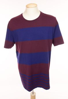 BURBERRY BRIT Mens T Shirt XXL Slim Fit Blue Burgundy Striped Cotton Casual Tee #BurberryBrit #BasicTee