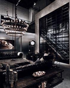 Estilo Industrial Chic, Modern Industrial Decor, Industrial Style Lighting, Industrial Interior Design, Vintage Industrial Furniture, Industrial Living, Industrial Interiors, Decor Interior Design, Interior Decorating