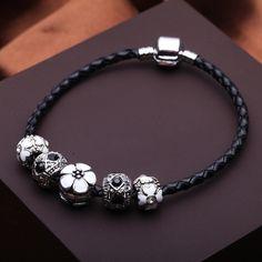 NEW FASHION 925 Silver Charm Fit Pandora Bracelet Leather for Women Fashion Imitation Jewelry PS3165-in Charm Bracelets from Jewelry on Aliexpress.com | Alibaba Group