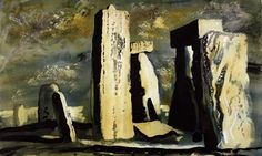 'Stonehenge, Wiltshire' by British artist John Piper Ink and wash. source: the Guardian. via Jane Tomlinson Stonehenge, Landscape Art, Landscape Paintings, John Piper Artist, Ancient Astronaut Theory, English Artists, Famous Artists, British Artists, The Guardian