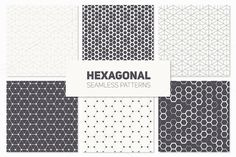 Hexagonal Seamless Patterns Set by Curly_Pat on @creativemarket