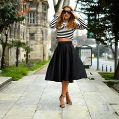 midi skirt and striped crop top