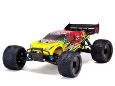The Monsoon XTR 4x4 truggy is perfect for bashers and racers alike. This high performance truggy includes 3 sealed differentials, adjustable suspension, aluminum bodied oil filled adjustable shocks, powerful engine, and front and rear sway bars.  The Monsoon XTR is ready to run, after following proper break in procedures, and includes a 2.4GHz radio for solid control.