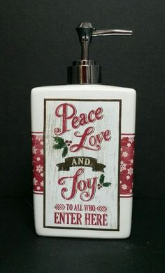 Christmas Soap Dispenser Ceramic Peace Love Joy Snowflakes Winter Bathroom Pump #Dispenser
