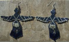 Raven Earrings Hand Made Seed Beaded by wolflady on Etsy, $25.00