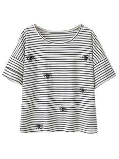 Shop Black And White Stripe Eye Pattern Short Sleeve T-shirt from choies.com .Free shipping Worldwide.$17.99