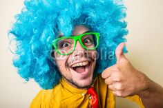 crazy funny young man with blue wig from $1