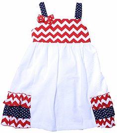 1aae0916fe6 Amazon.com  RARE EDITIONS Little Girls Size 6 White Navy Red Seersucker  Summer Dress  Clothing