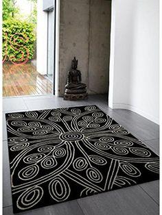 Teppich Wohnzimmer Carpet Modernes Design MATRIX KAYA BLUMEN RUG 100 Wolle 200x300 Cm Rechteckig Schwarz