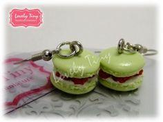 Kawaii Fashion Accessories Green Macaron with Raspberry Filled Charms Earrings.