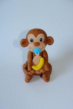Edible Fondant Cake Topper Monkey by SugarDoughDesigns on Etsy, $10.00