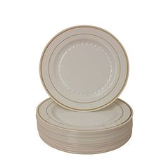 9 Inch Plastic Plates Trimmed With Gold High Quality. Pac...   sc 1 st  Pinterest & 12 Pack 9\