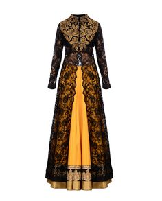 Kylee Sunglow Yellow Lengha Set with Black Lace Jacket