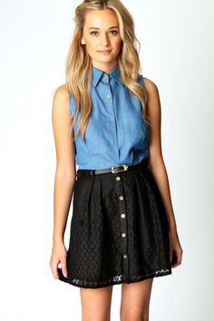 denim collared shirt with black lace skirt