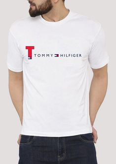Tommy Hilfiger White T Shirts Simple And Casual top Custom From Gildan Casual Tops, Men Casual, Tommy Hilfiger Outfit, T Shorts, Simple Shirts, Tee Design, Branded T Shirts, Shirt Style, Menswear