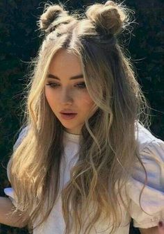 Cute Hairstyles For Teens, Easy Hairstyles For Long Hair, Teen Hairstyles, Braided Hairstyles, Two Buns Hairstyle, Cute Bun Hairstyles, Wedding Hairstyles, Hair Ideas For School, Simple Hairstyles For Long Hair