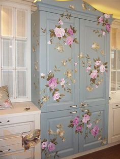 wood furniture painting ideas....LOVE this for my sewing room to store fabric.