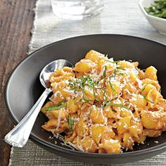 Pasta with Roasted Red Pepper and Cream Sauce | MyRecipes.com #myplate #grain #vegetables