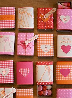 Who needs matches when you can turn matchbooks into cute little treat boxes... like for M&Ms!