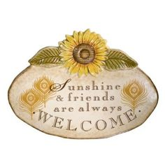 Grasslands Road Indian Summer Sunflower Plaque with Metal Stand, Sunshine & Friends are Always Welcome, 7-1/2 by 10-Inch