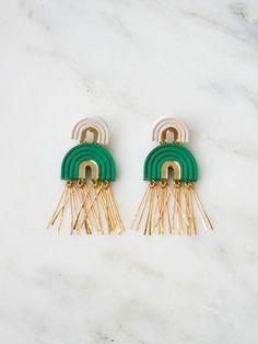 Emerald Two Arch Tassel Earrings by Wolf & Moon Feather Earrings, Tassel Earrings, Statement Earrings, Jewelry Photography, Photography Women, Product Photography, Wolf Moon, Emerald Jewelry, Polymer Clay Earrings