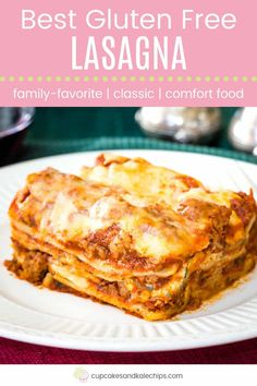 Gluten free meals 371124825543321298 - The World's Best Gluten Free Lasagna – this homemade lasagna recipe has hearty meat sauce and three kinds of cheese between layers of gluten free noodles. It's the ultimate Italian comfort food! Best Gluten Free Lasagna Recipe, Homemade Lasagna Recipes, Gluten Free Lasagna Noodles, Gf Recipes, Gluten Free Recipes, Noodle Recipes, Cheese Recipes, Pasta Recipes, Cooking Recipes