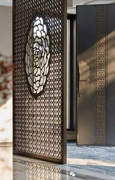 """Details -the soul of any design! Screen Design, Door Design, Jaali Design, Architecture Restaurant, Lattice Screen, Laser Cut Screens, Chinese Interior, Partition Design, Puja Room"