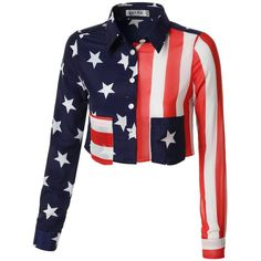 URBANCLEO Womens American Flag Long Sleeve Crop Top Blouse Shirt ($18) ❤ liked on Polyvore featuring tops, blouses, shirt blouse, white crop shirt, white crop top, long sleeve blouse and long sleeve crop top