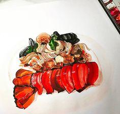 YooJin Guak Illustration    Lobster Pasta