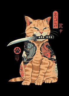 Catana by Vincent Trinidad Samurai cat with a katana Day Of The Shirt, Japanese Tattoo Art, Japanese Cat, Cute Poster, Poster Prints, Art Prints, Block Prints, Linocut Prints, Samurai Art