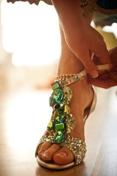 These bling sandals are pure heaven....I'd love these for the Bali wedding (anyone know who makes them or where I can buy them??? Please reply to Judi Considine on Pinterest if you can help)...A woman with good shoes is never ugly. Coco Chanel