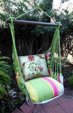 Magnolia Casual Hummingbirds Hammock Chair & Pillow Set - Hammock Chairs & Swings at Hayneedle Indoor Hammock Bed, Hammock Swing Chair, Hammock Stand, Swinging Chair, Porch Swing, Swing Chairs, Desk Chairs, Office Chairs, Lawn Furniture