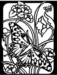 Butterflies Stained Glass Coloring Kit From Dover Publications