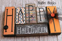 Happy Halloween Wood Blocks by BaiBriBlocks on Etsy, $24.99