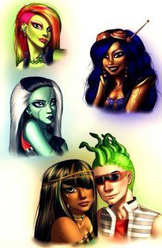 Venus McFlytrap, Robecca Steam, Frankie Stein, Cleo De Nile, & Deuce Gorgon