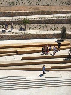 création jardin promenade fort saint-jean Marseille - agence aps Plus Landscape Plaza, Landscape Stairs, Landscape And Urbanism, Urban Landscape, Landscape Design, Terraced Landscaping, Modern Landscaping, Berlin Zoo, Ramp Stairs