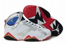 Retro 7 Air Jordan New Colorways White & Red - Silver Ladies Size