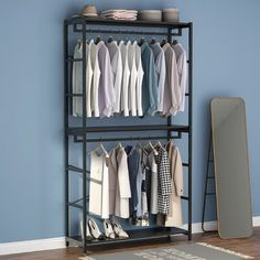 """17 Stories Freestanding 3 Tiers Shelves Clothes Garment Racks, Large Heavy Duty Clothing Storage Shelving Unit for Bedroom Laundry Room. Finish: Black 