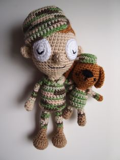 Sleepy Soldier and His Dog (ham_and_eggs) Tags: boy dog toy soldier army doll handmade crochet craft camo plush softie amigurumi sgt