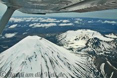 Flying over snow caped Mt. Doom, New Zealand