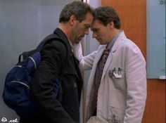 I love Gregory House and James Wilson together! It makes me happy, and I apologize to those who like Cuddy, but I dislike her very much and I despise the time her and House are together. Robert Sean Leonard, Gregory House, Doctor Hause, House And Wilson, Serie Doctor, Medical Series, Everybody Lies, Hugh Laurie, Old Tv