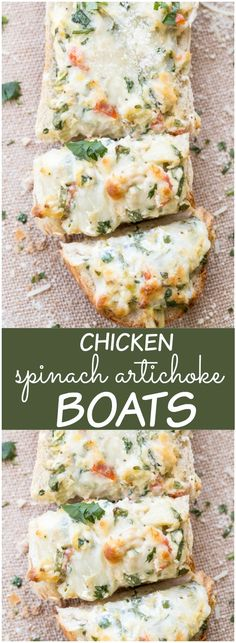 Chicken Artichoke Spinach Boats inspired by the classic dip but served over french brench and baked. Great as an appetizer or a side dish for parties. Appetizer Recipes, Dinner Recipes, Appetizers, Party Recipes, Dinner Ideas, Artichoke Chicken, Artichoke Spinach, Sandwiches, Cooking Recipes