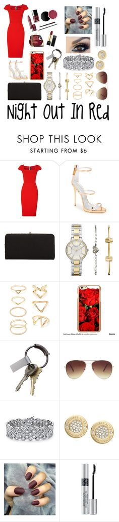 """""""Night Out In Red"""" by rachie111 ❤ liked on Polyvore featuring Roland Mouret, Giuseppe Zanotti, Urban Expressions, FOSSIL, Forever 21, Incipio, CB2, Palm Beach Jewelry, Michael Kors and Christian Dior"""