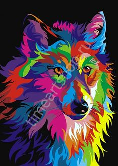 Buy Abstract Wolf - Animals Paint By Number kit or check our new modern collections for adults paint by numbers. Relax and enjoy your canvas painting Abstract Wolf, Abstract Animals, Arte Pop, Design Loup, Ciel Pastel, Kit Pintura, Pop Art, Oil Paint Set, Images D'art