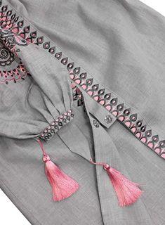Gray Embroidered Folk Dress Vyshyvanka, Folk Ethnic Linen Gypsy Style, Bohemian Style Ukrainian Dress Abaya Kaftan, Hippie dress, Mexican - Her Crochet Kurti Sleeves Design, Kurta Neck Design, Sleeves Designs For Dresses, Dress Neck Designs, Stylish Dress Designs, Sleeve Designs, Stylish Dresses, Fashion Dresses, Hand Embroidery Dress