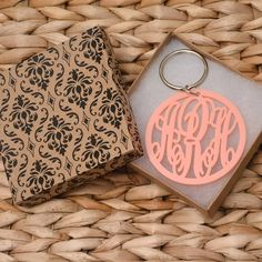 Pink Monogrammed Keychain  Personalized gift done by CardinalGift, $20.99