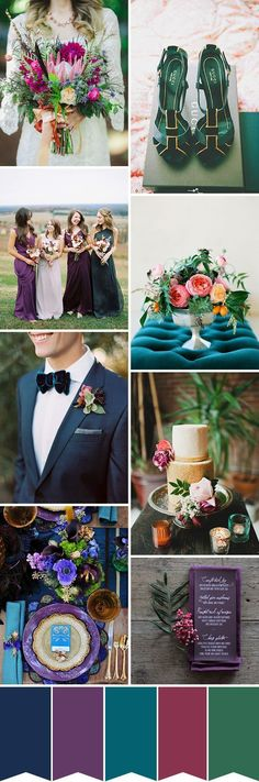 Emerald greens, plush plums and deep purples, this week's jewel toned wedding colour palette feels regal and rich...