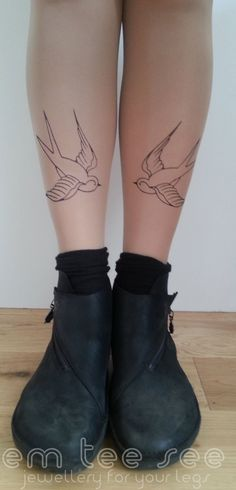 Bird Tattoo Tights Rockabilly swallows. £15,00, via Etsy.