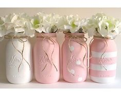 painted mason jars Pink Mason Jars These beautiful mason jars make the perfect centerpiece. Perfect for baby showers, birthdays, weddings, or to simply decorate your home. Mason Jar Projects, Mason Jar Crafts, Mason Jar Diy, Pink Mason Jars, Painted Mason Jars, Mason Jar Painting, Diy Hanging Shelves, Floating Shelves Diy, White Centerpiece